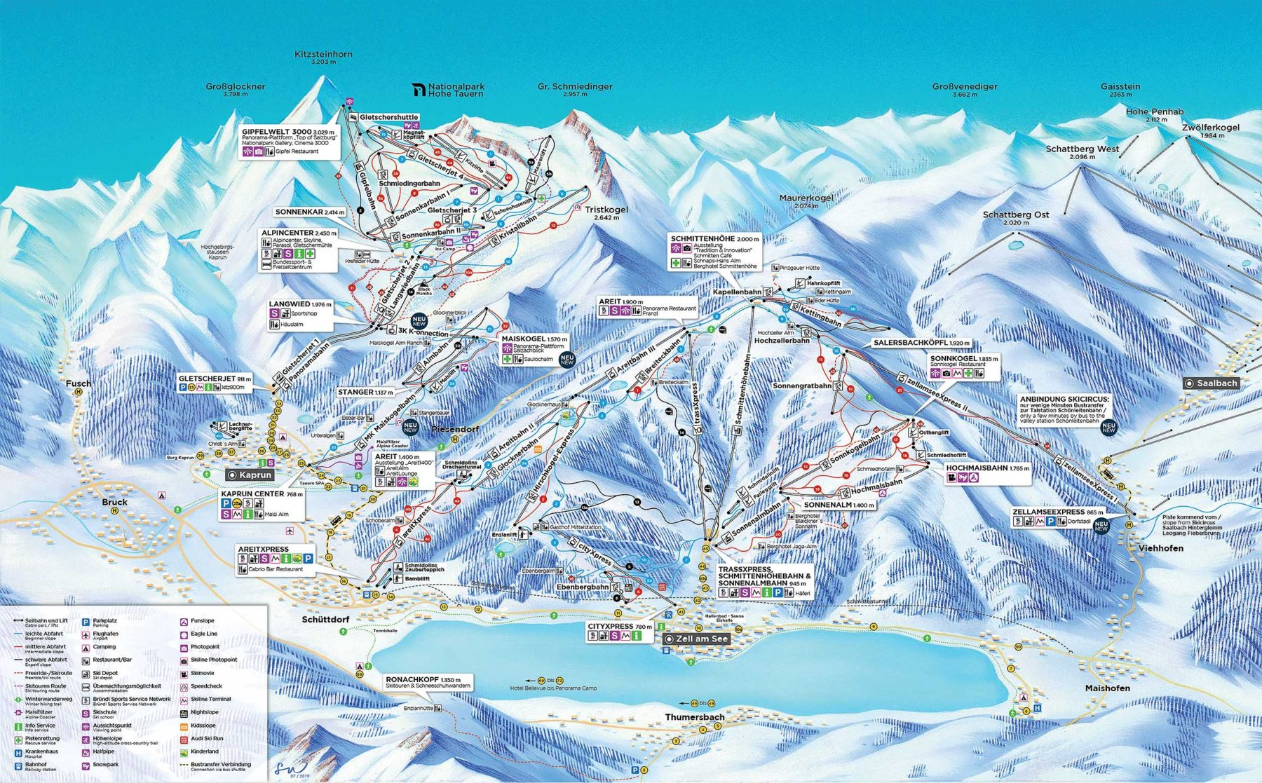 Ski slope map Kaprun Zell am See